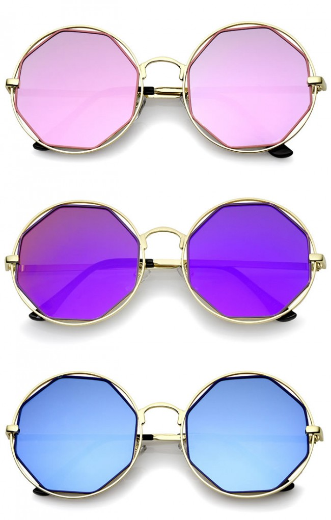 e84d732c8299 Retro Oversize Metal Frame Cutout Octagon Mirror Lens Round Sunglasses  53mm. Zoom