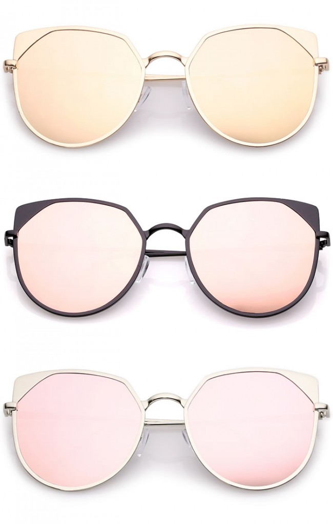 23ba7527c0 Women s Oversize Pink Colored Mirror Flat Lens Cat Eye Sunglasses 59mm ·  Zoom