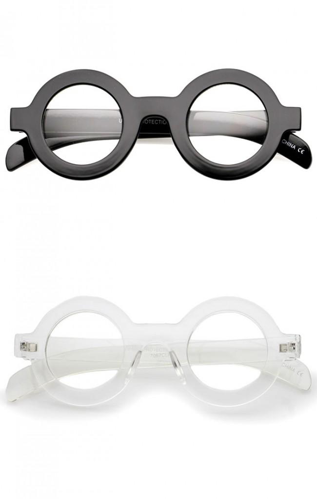 Glasses Frames For Thick Lens : Bold Thick Frame Flat Clear Lens Round Eyeglasses 39mm