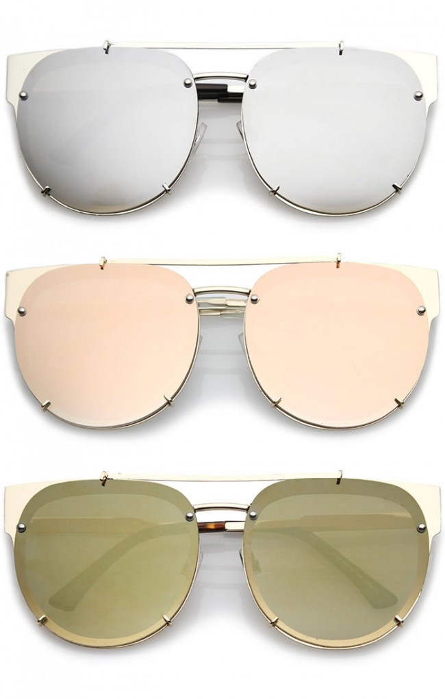78b1e6bd79 Oversize Metal Double Nose Bridge Horn Rimmed Super Flat Mirrored Lens  Round Sunglasses 60mm · Zoom