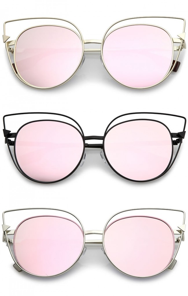 d6090bf0616 Oversize Metal Cutout Frame Arrow Accent Pink Mirror Flat Lens Cat Eye  Sunglasses 57mm · Zoom