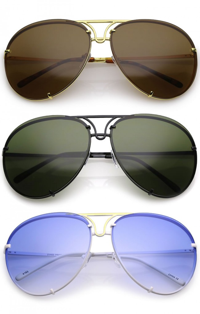 a49c5b8ac8 Oversize Rimless Metal Slim Arms Tinted Lens Aviator Sunglasses ...
