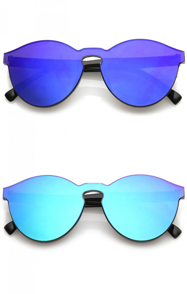 62af25a83f One Piece PC Lens Rimless Ultra-Bold Colored Mirror Mono Block Sunglasses  60mm. Zoom