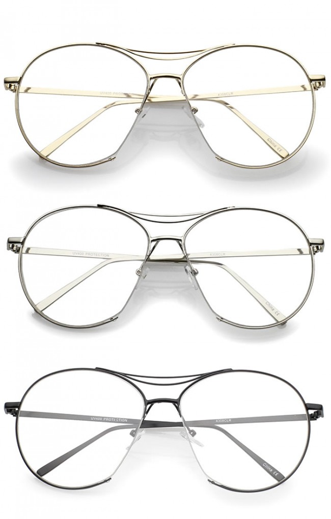 53275eafbc6 Oversize Semi-Rimless Brow Bar Round Clear Flat Lens Aviator Eyeglasses  59mm · Zoom