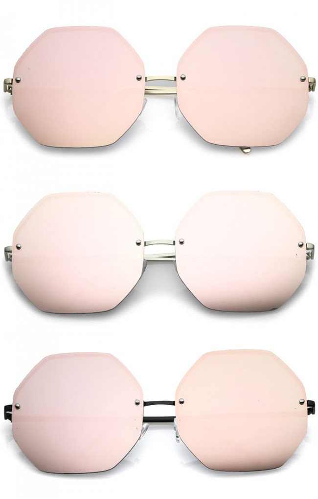 af8a7d05e7 Women s Geometric Octagon Slim Arms Pink Mirrored Oversize Sunglasses 70mm.  Zoom