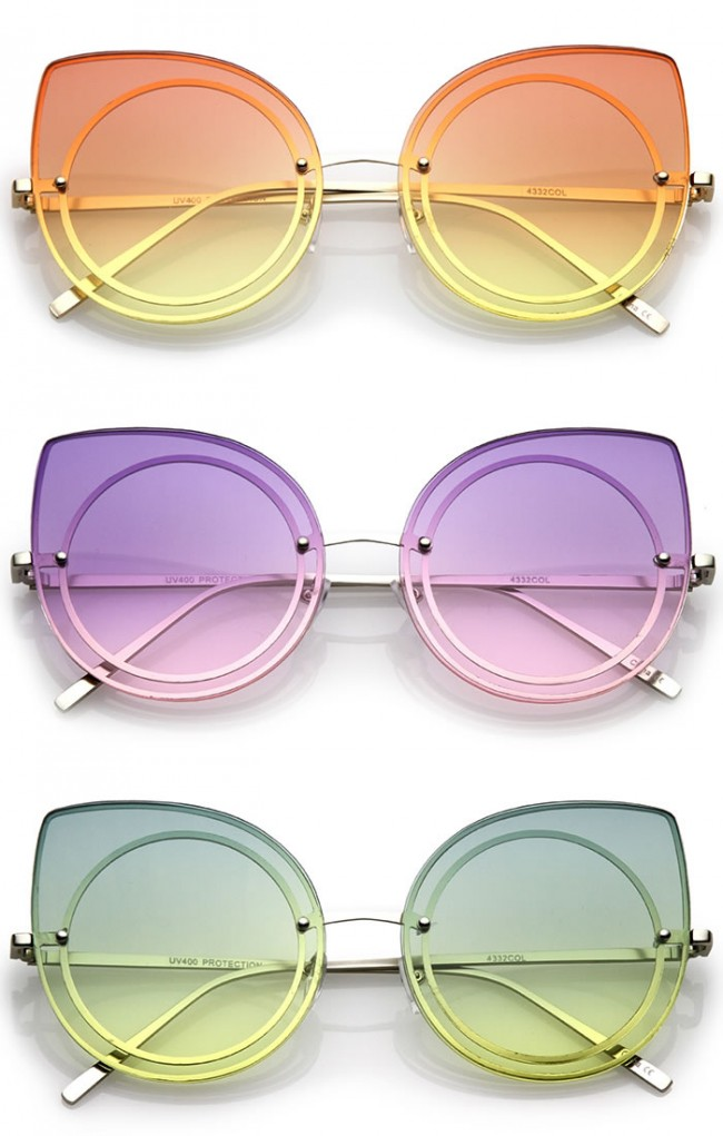 df3ca6f38b028 Women s Oversize Rimless Colored Gradient Flat Lens Cat Eye Sunglasses 63mm.  Zoom
