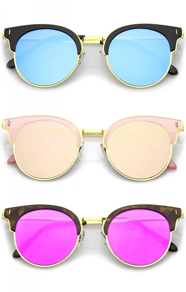 Colored Mirror Sunglasses  half frame round colored mirror flat lens horn rimmed sunglasses 49mm