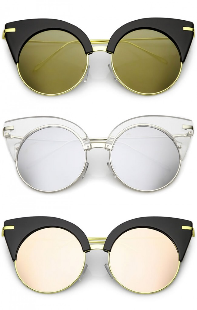 fb5e686b5b Oversize Half Frame Ultra Slim Arms Round Mirrored Flat Lens Cat Eye  Sunglasses 54mm. Zoom