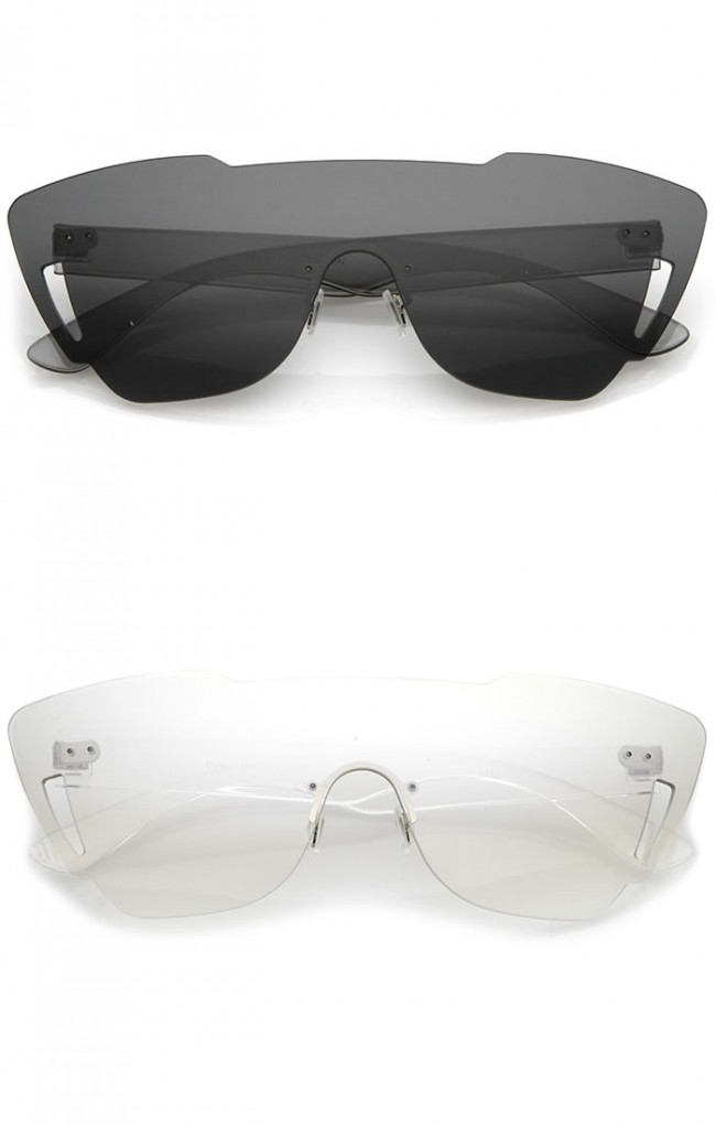 f7e61ee31751 Oversize Rimless Cutout Thick Arms Tinted Mono Lens Shield Sunglasses 73mm  · Zoom