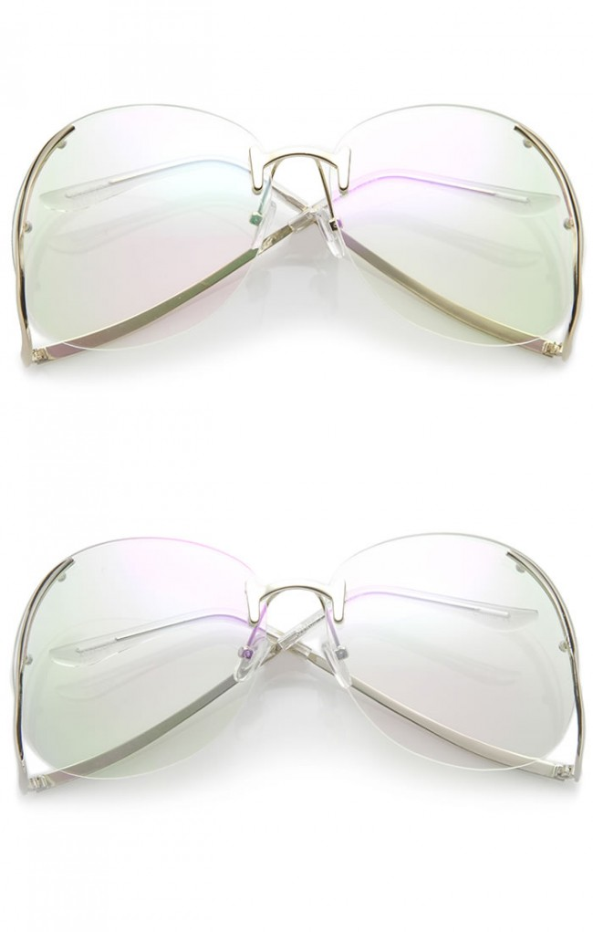 c29c3454655 Women s Rimless Curved Metal Arms Round Clear Lens Oversize ...