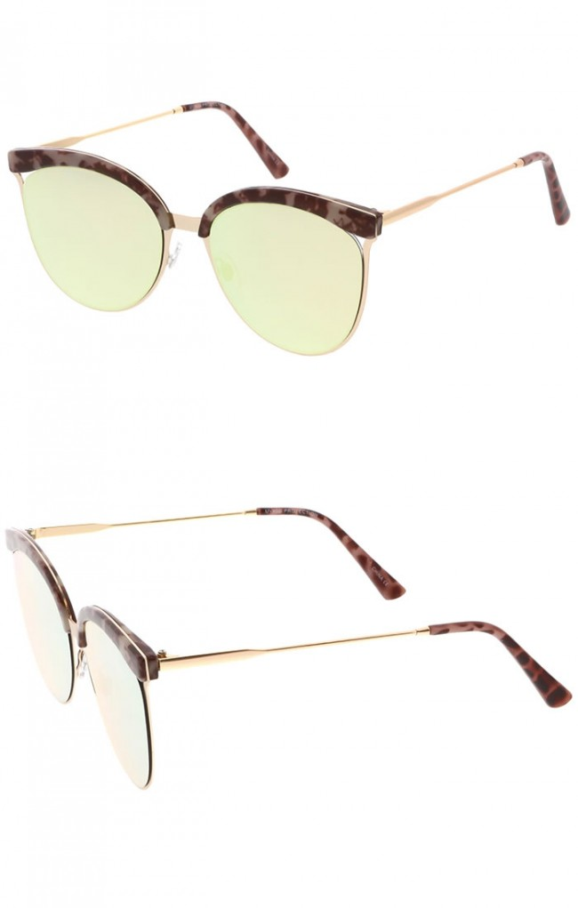 Rimless Glasses With Changeable Arms : Modern Semi Rimless Cutout Slim Arms Mirrored Flat lens ...