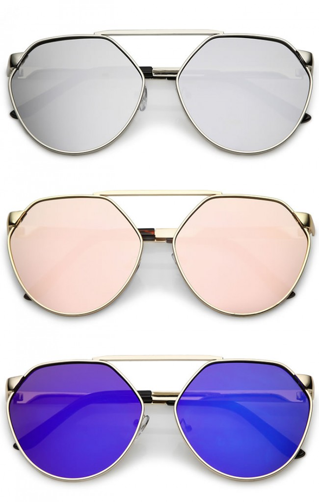 417b05d9e9 Oversize Geometric Metal Colored Mirror Flat Lens Aviator Sunglasses 60mm.  Zoom