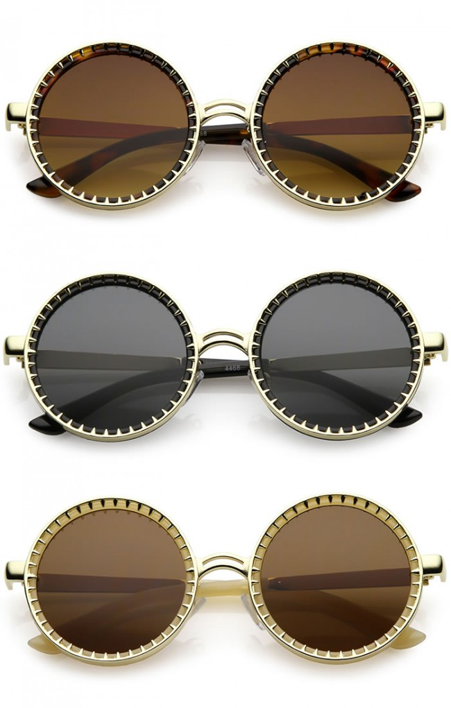 31f7d05d4d076 Steampunk Metal Spike Frame Flat Lens Round Sunglasses 50mm. Zoom