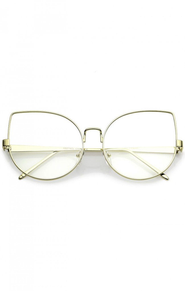 806a5bd2d73 Oversize Slim Metal Frame Clear Flat Lens Cat Eye Glasses 63mm
