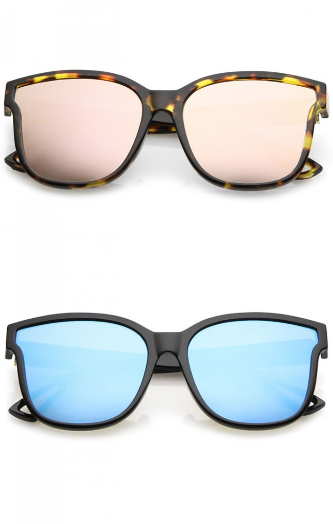 Square Cat Eye Sunglasses  horn rim metal accent mirrored square flat lens cat eye sunglasses