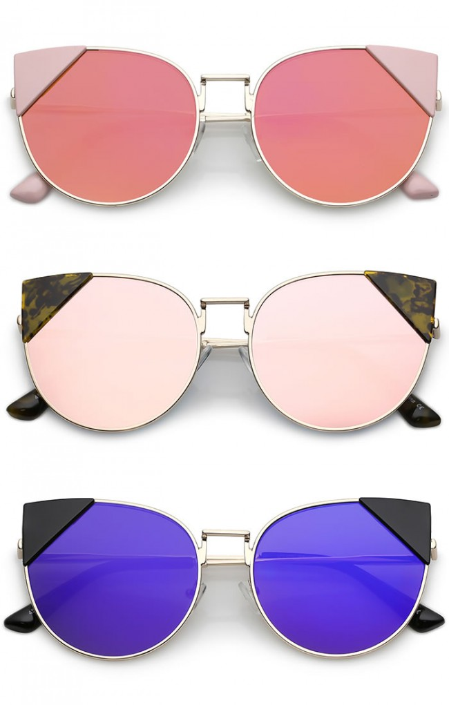 a52a7be2a15 Women s Corner Tip Accent Metal Mirrored Round Flat Lens Cat Eye Sunglasses  56mm · Zoom
