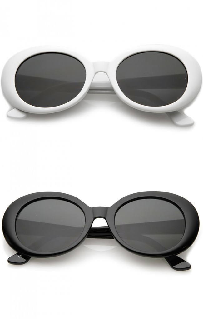 6ce9886c215be Retro Tapered Arms Neutral Colored Round Lens Oval Sunglasses ...