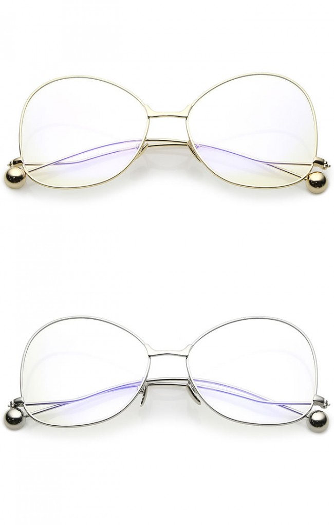 f537c945f1 Women s Thin Metal Arms Ball Accent Clear Lens Oversize Butterfly ...