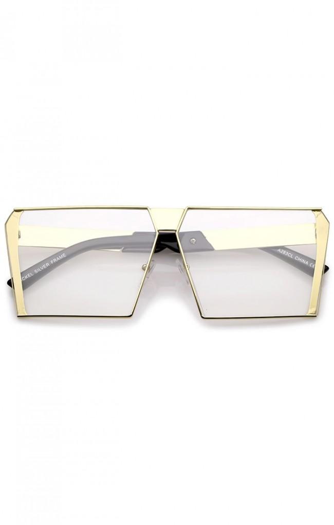 Oversize Modern Semi Rimless Metal Square Flat Clear Lens Eye ...