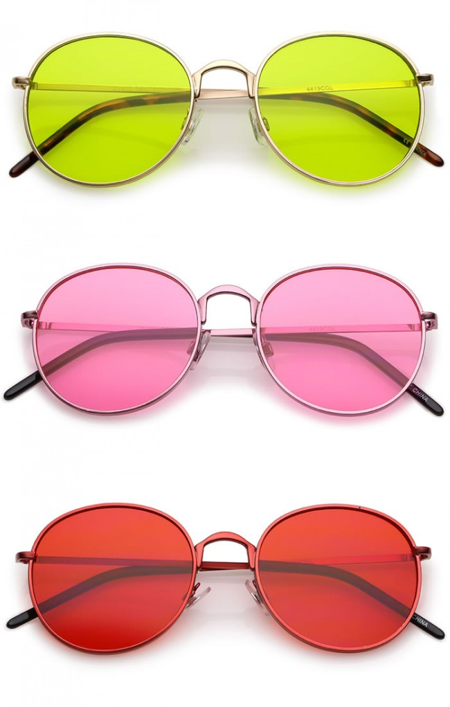 283d74e9bf Bold Full Metal Frame Color Tinted Flat Lens Round Sunglasses 52mm · Zoom