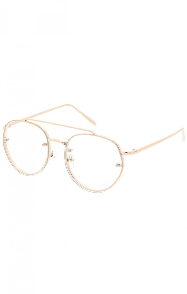 66f29b8ec0 Modern Slim Brow Bar Rimless Clear Round Flat Lens Aviator Eyeglasses 59mm  · Zoom
