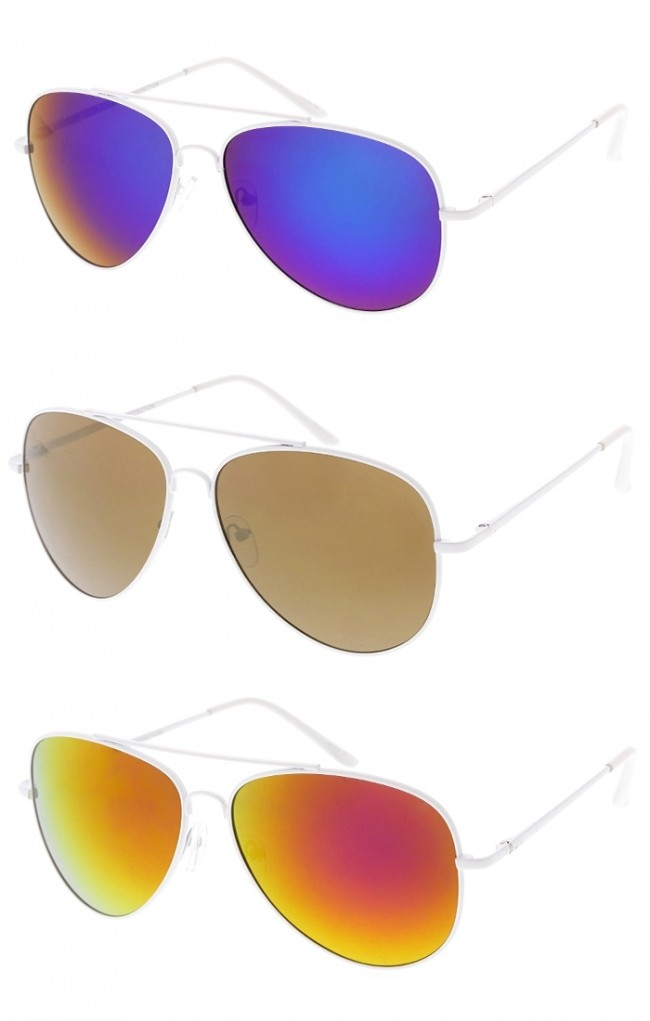 Classic Large White Frame Mirror Lens Aviator Wholesale Sunglasses