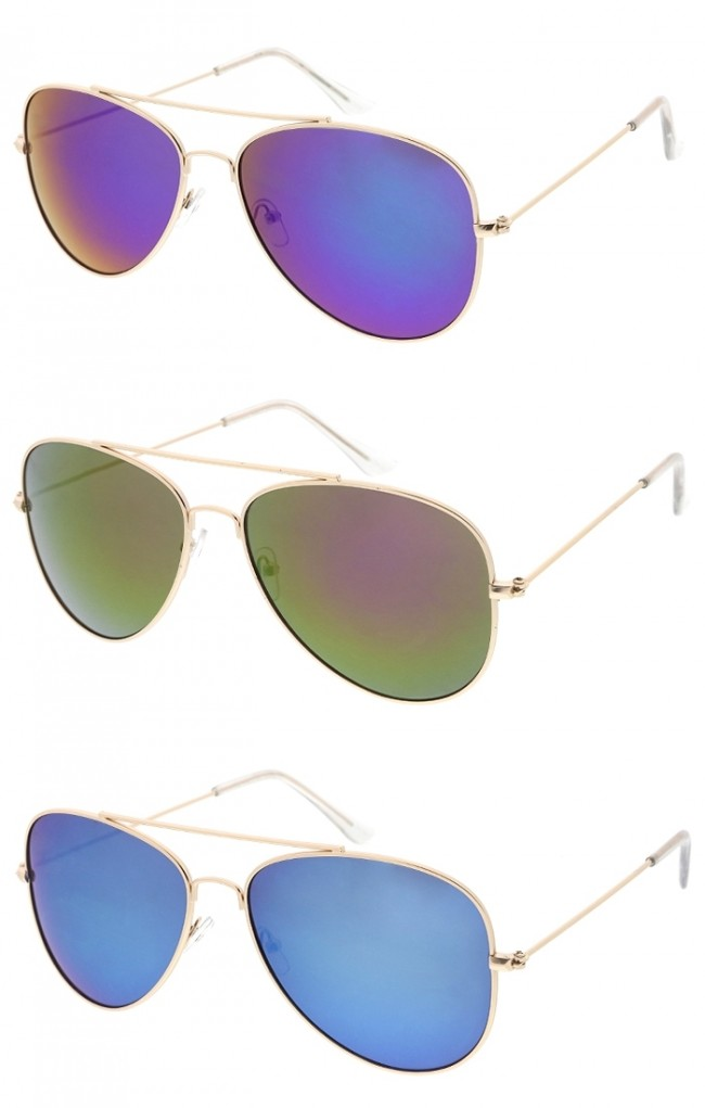 29a4228c59159 Classic Large Metal Aviator Colored Mirror Lens Wholesale Sunglasses. Zoom