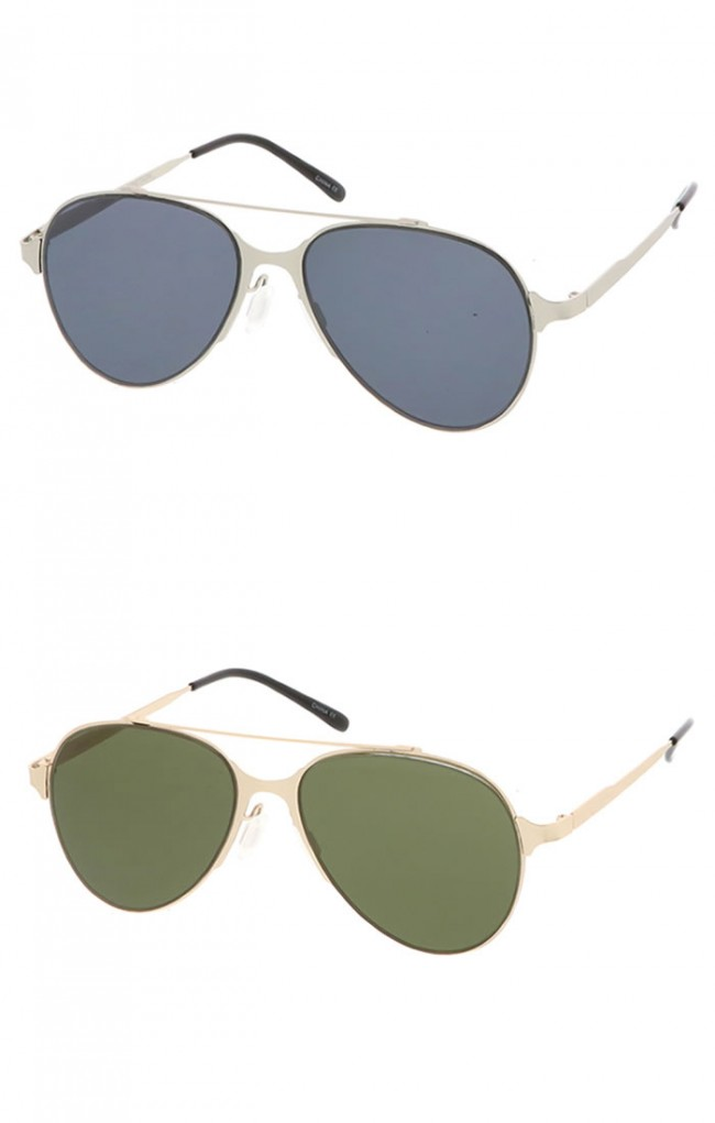 Dapper Double Crossbar Flat Front Round Aviator Wholesale Sunglasses