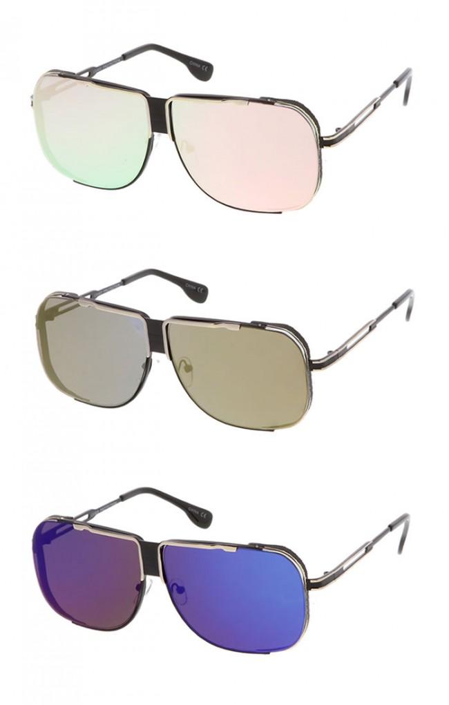 a3e3f64727d Oversize Men s Metal Flat Top Side Cover Mirror Lens Aviator Wholesale  Sunglasses · Zoom