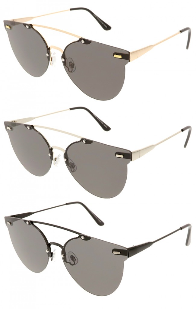 7dec956c951 Modern Rimless Metal Crossbar Round Aviator Wholesale Sunglasses · Zoom