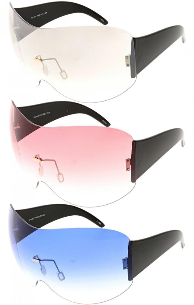 1a9d7b83d Oversized Rimless Shield Color Lens Wholesale Sunglasses. Zoom