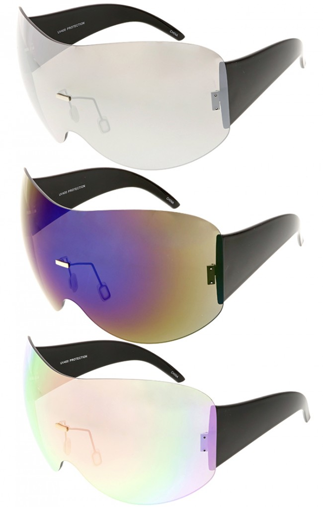 58fa5fe07a Futuristic Oversized Rimless Mirror Lens Shield Wholesale Sunglasses · Zoom