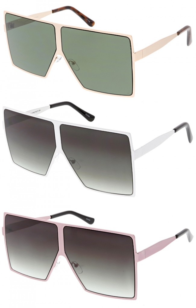 2be354c936 Oversized Retro Modern Futuristic Square Aviator Wholesale Sunglasses · Zoom