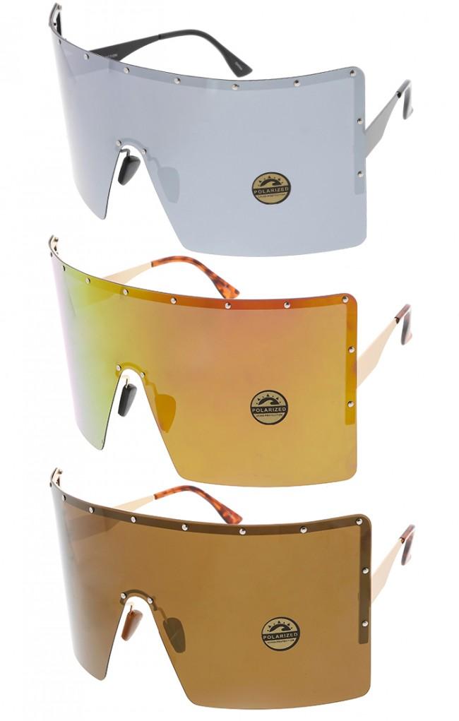 7fd15e19e93 Super Oversized Mono Mirror Wrap Around Lens Wholesale Sunglasses · Zoom
