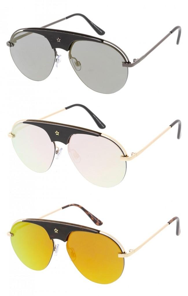 30ca39a0a Half Frame Star Aviator Mirror Lens Wholesale Sunglasses. Zoom