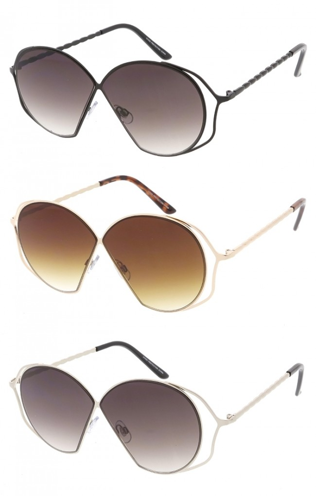 Large Rounded Cutout Womens Wholesale Sunglasses