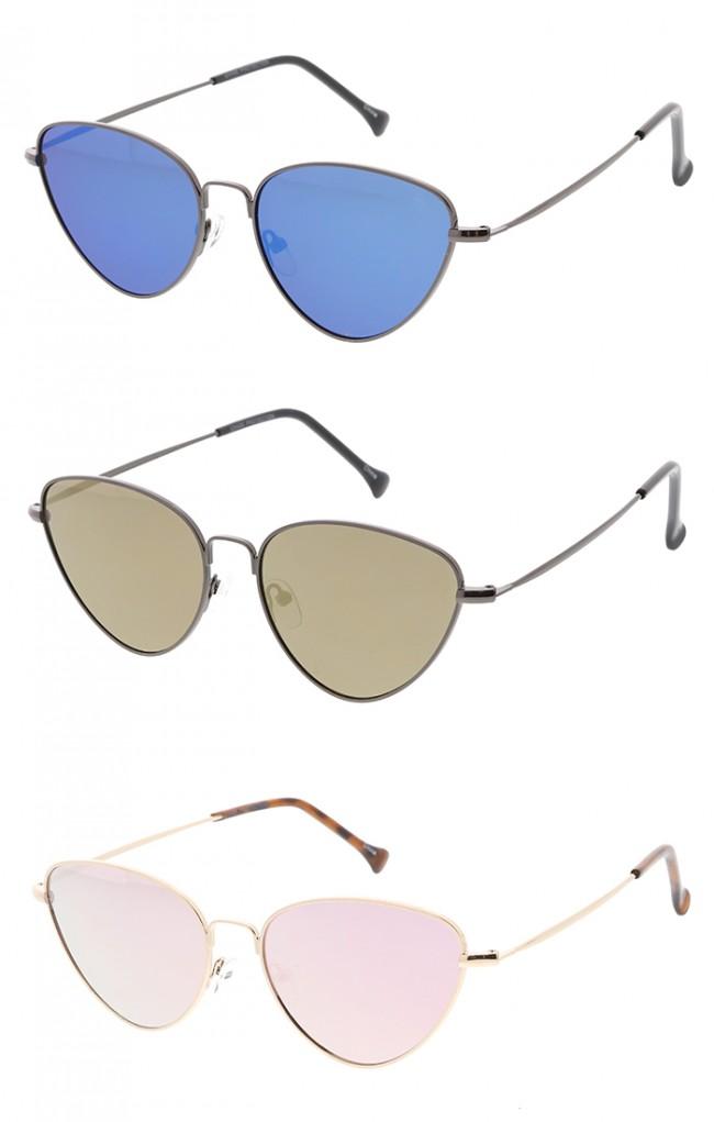 Thin Metal Frame Cat eye Mirror Lens Wholesales Glasses