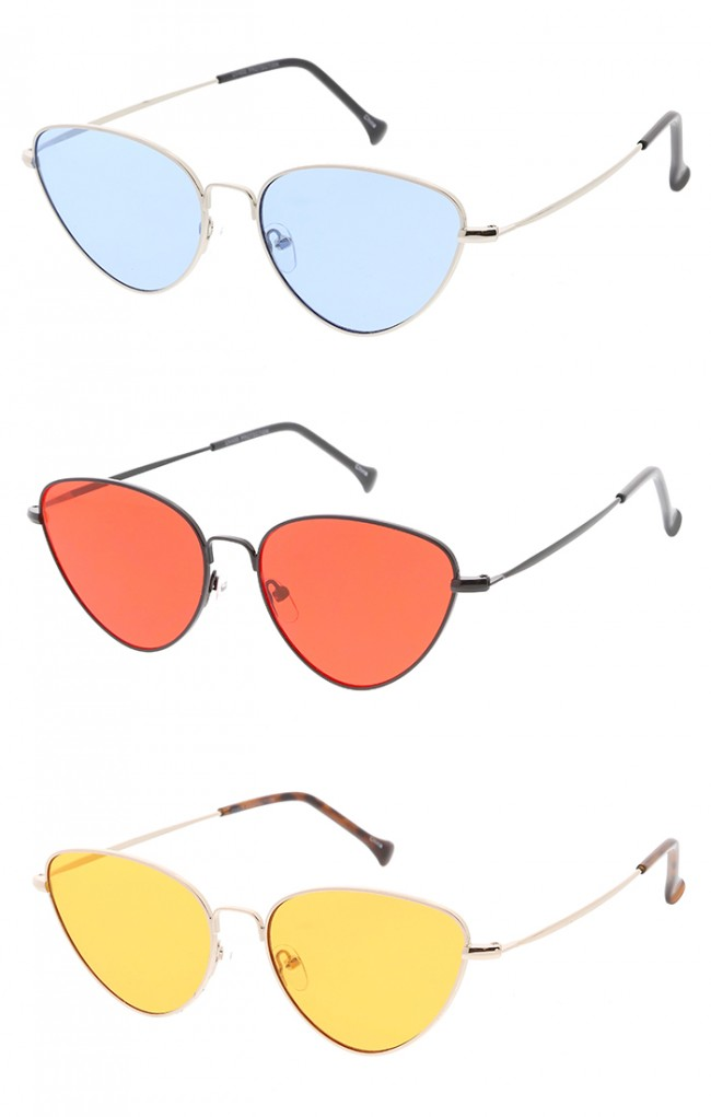 Thin Metal Frame Cat eye Color Lens Wholesales Glasses