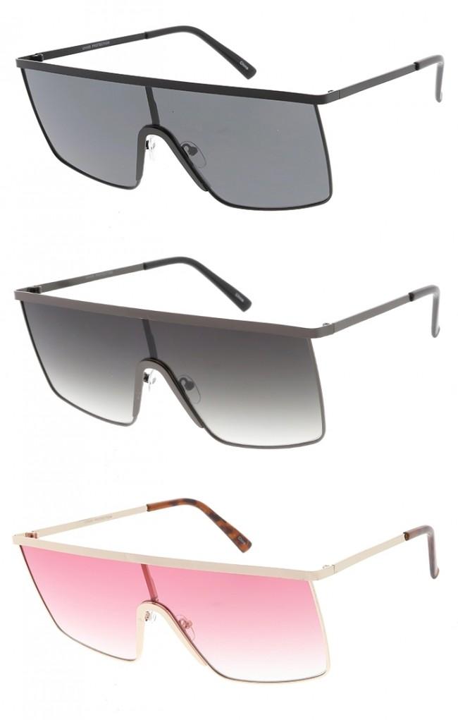 73dc4e4d7 Flat Top Metal Square Shield Wholesale Sunglasses. Zoom