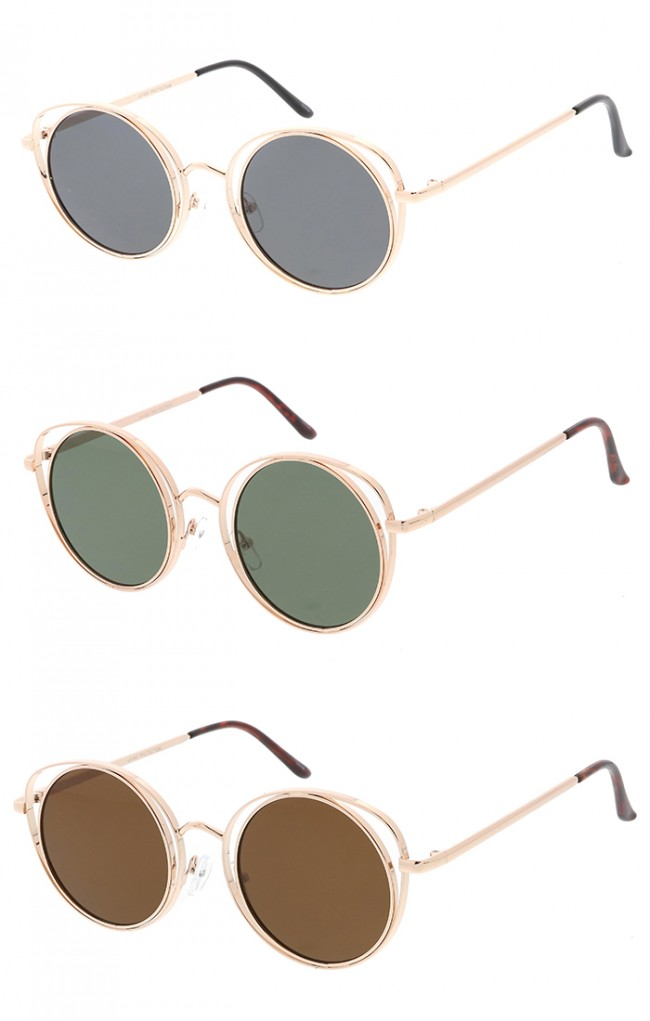 Womens Wire Cat Eye Metal Frame Round Wholesale Sunglasses