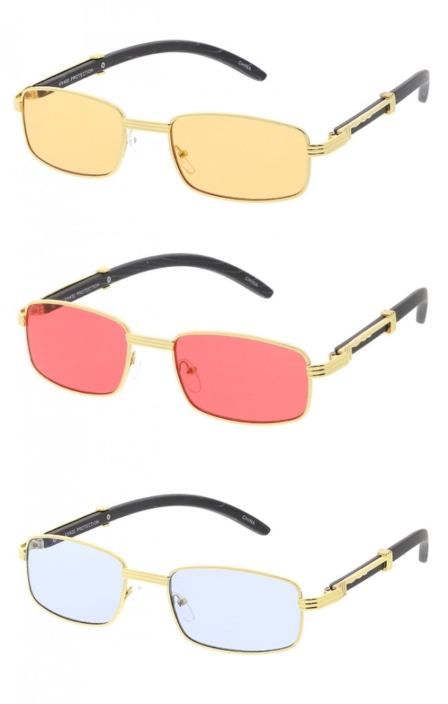 661a2785ea Small Rectangle Frame Wood Grain Arms Color Lens Wholesale Sunglasses · Zoom