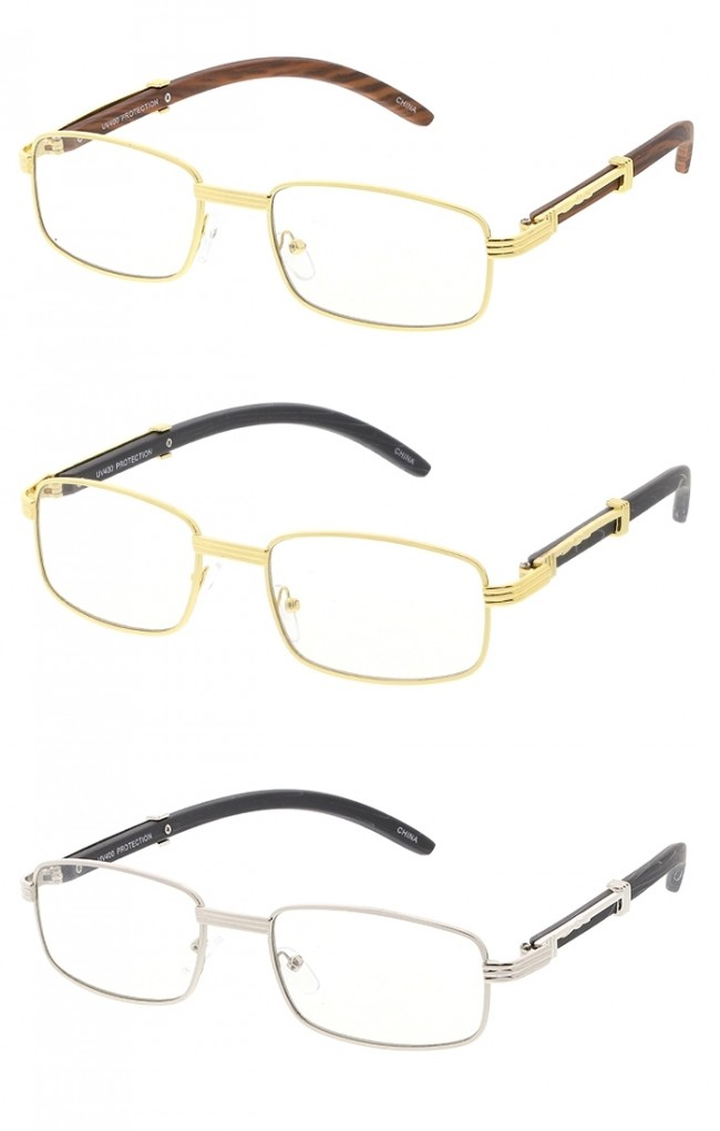 Small Rectangle Frame Wood Grain Arms Clear Lens Wholesale Glasses