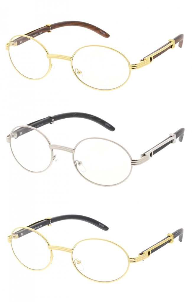 f6f84a95b2d Small Round Frame Wood Grain Arm Clear Lens Wholesale Glasses. Zoom