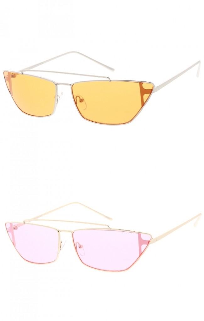 Retro 90's Metal Slim Color Tone Wholesale Sunglasses
