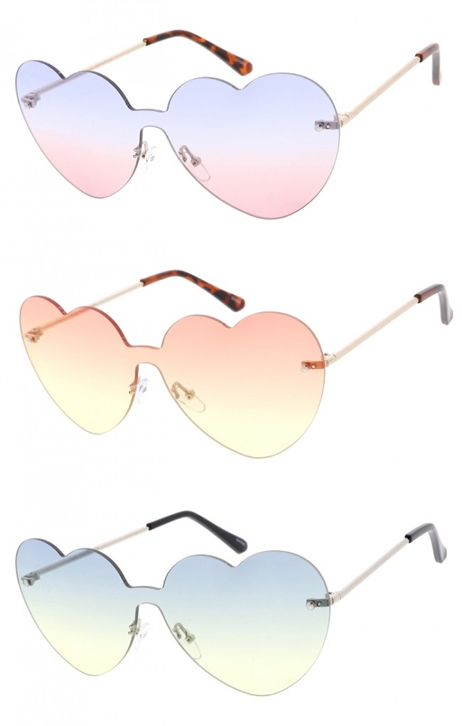d0456a339bc7 Rimless Large Heart Wholesale Sunglasses · Zoom