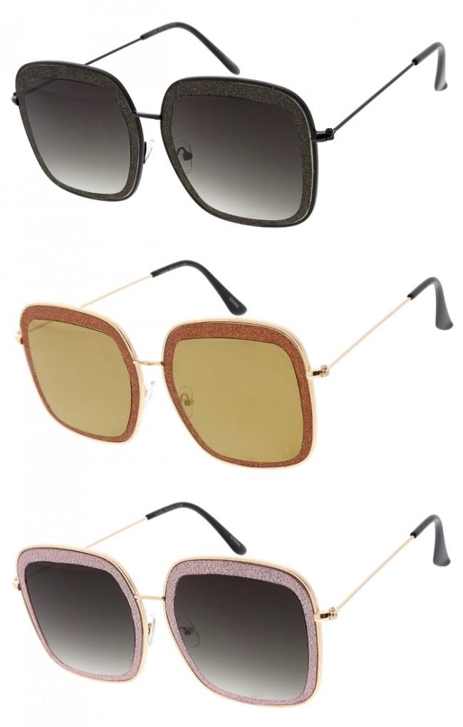 a417a459c22a1 Premium Square Frame Glitter Wholesale Sunglasses · Zoom