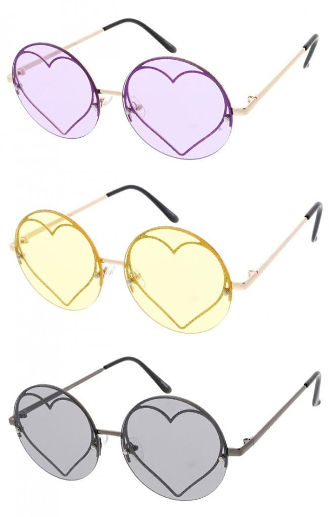 3bf5bda7a613 Round Heart Frame Cut Out Wholesale Sunglasses · Zoom