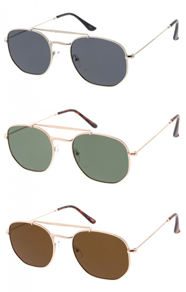 69d49aa92b4 Unisex Small Hexagon Metal Frame Classic Wholesale Sunglasses. Zoom