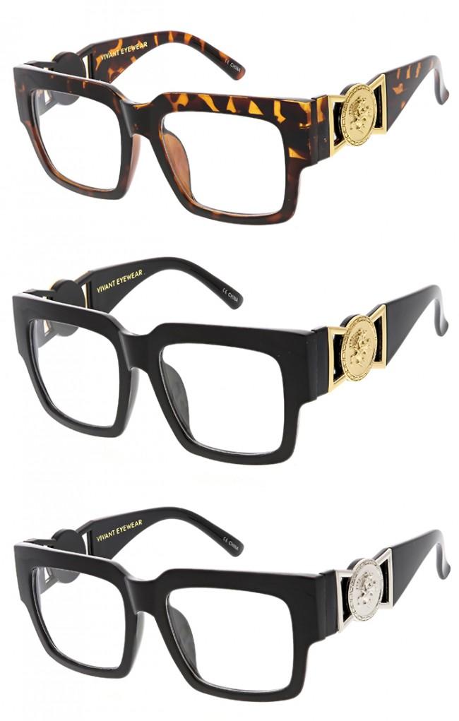 1708e1db5f0 Horned Rim Luxury Square Logo Clear Lens Wholesale Sunglasses. Zoom