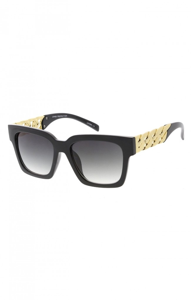 12d5efb09691 Fashion Square Frame Couture Style Sunglasses w Chain Arms. Zoom